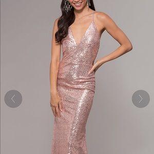 Rose Gold Sequin V-Neck Dress